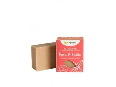 Tuhé olivové mýdlo Bio - Růžový olej a bambucké máslo 100g