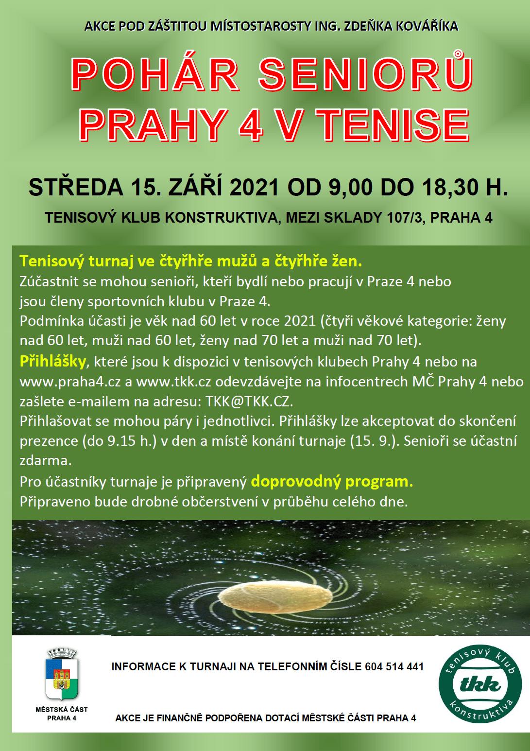 Plakát pohár seniorů Prahy 4 2021