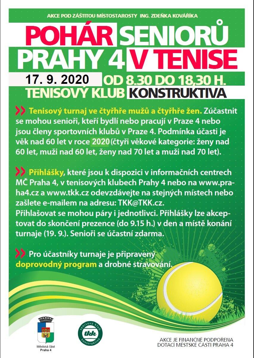 Plakát Pohár seniorů Prahy 4 v tenise