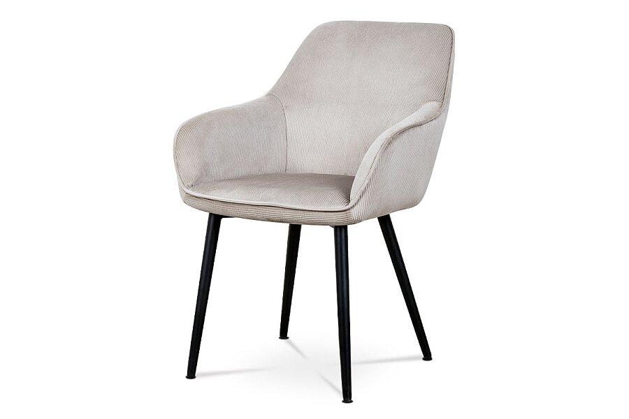 Jídelní a konferenční židle, potah lanýžová manšestrová látka, kovové nohy - černý lak
