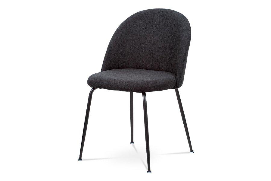 Jídelní židle, černá látka, kovová čtyřnohá podnož, černý matný lak