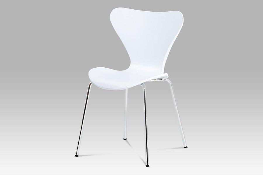 Jídelní židle, bílý plast s imitací dřeva / chrom