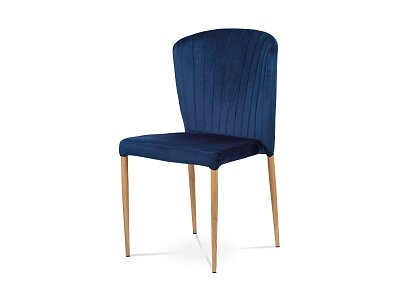 Jídelní židle, modrá sametová látka