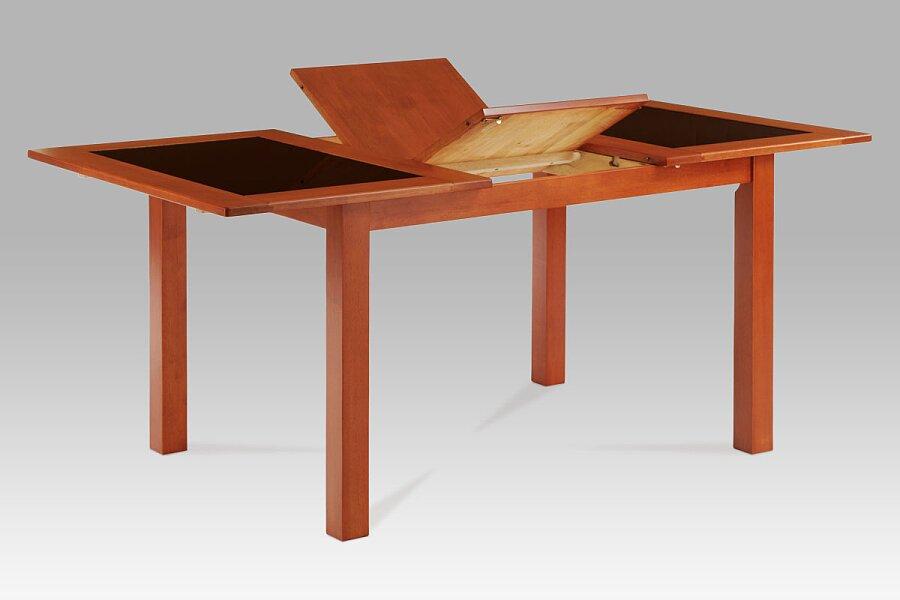 Jídelní stůl rozkl. 130+46x90 cm, černé sklo, barva třešeň