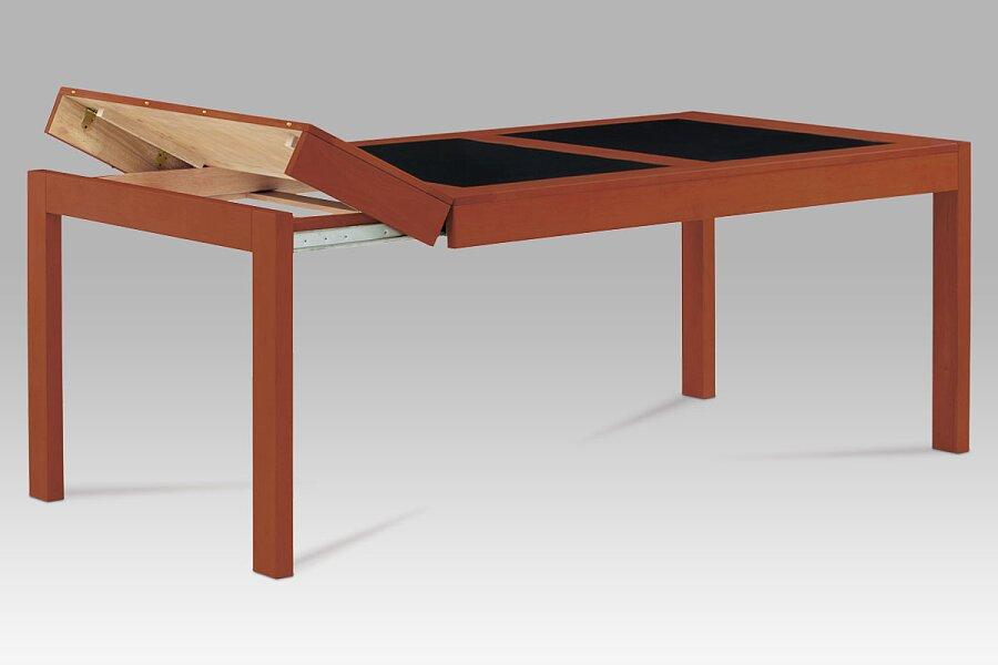 Jídelní stůl rozkl. 160+40+40x90 cm, barva třešeň / černé sklo