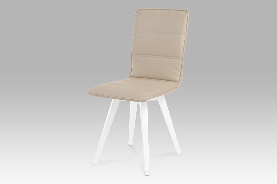 Jídelní židle, koženka cappuccino / vysoký lesk bílý