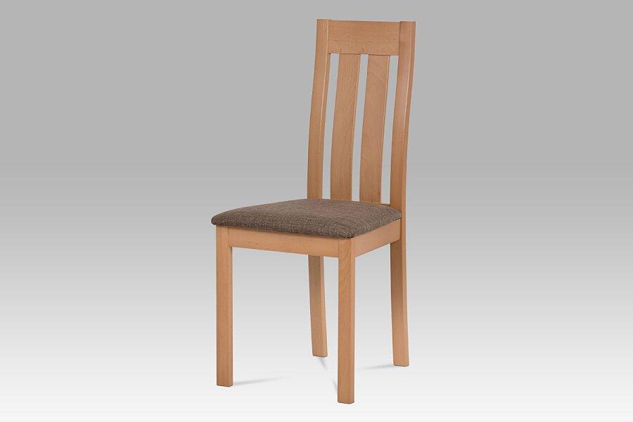 Jídelní židle masiv buk, barva buk, potah hnědý melír