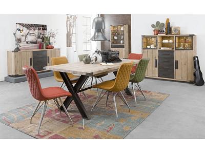 Frankfurt - moderní rozkládací jídelní stůl, deska dub, kov nohy