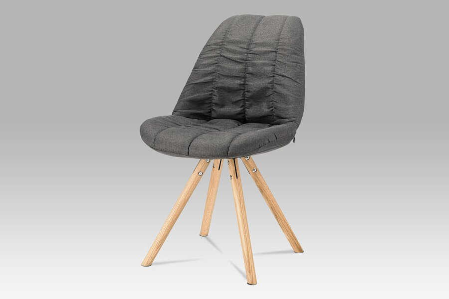 Jídelní židle, šedá látka, masiv dub
