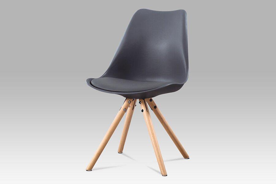 Jídelní židle, šedá plast + ekokůže, masiv buk