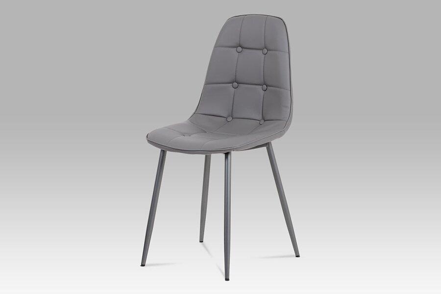 Jídelní židle, šedá ekokůže, kov antracit