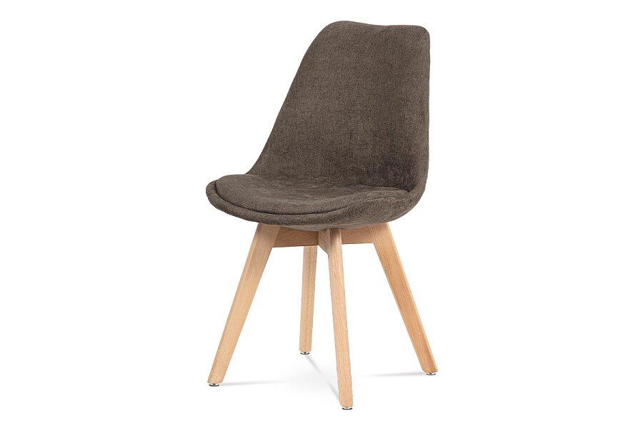 Jídelní židle, hnědá látka, masiv přírodní odstín