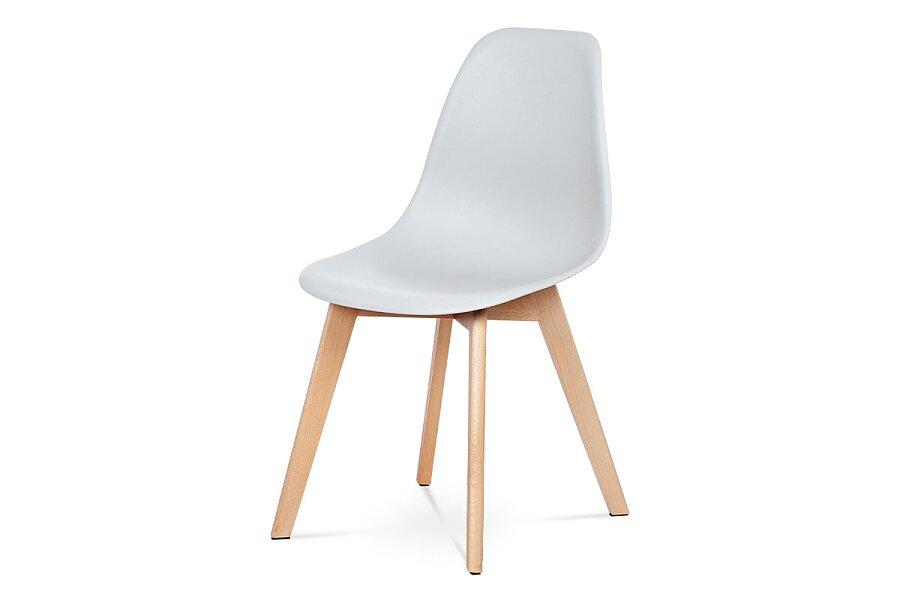 Jídelní židle, šedý plast, masiv buk