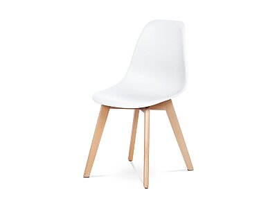 Jídelní židle - bílý plast, masiv buk