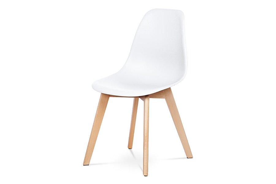 Jídelní židle, bílý plast, masiv buk