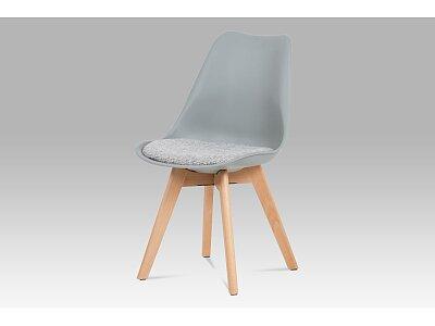 Jídelní židle - šedý plast, šedá tkanina, masiv