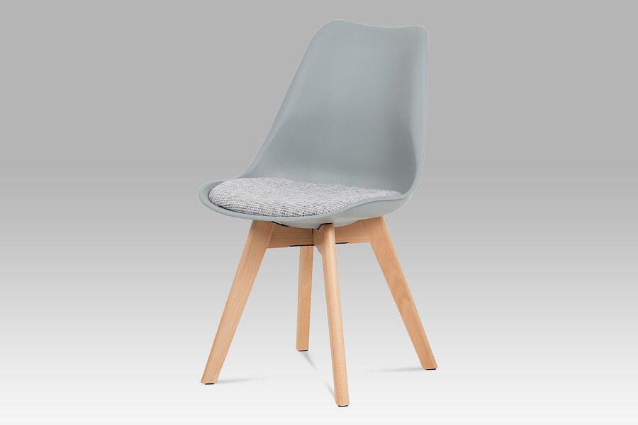 Jídelní židle, šedý plast, šedá tkanina, masiv natural