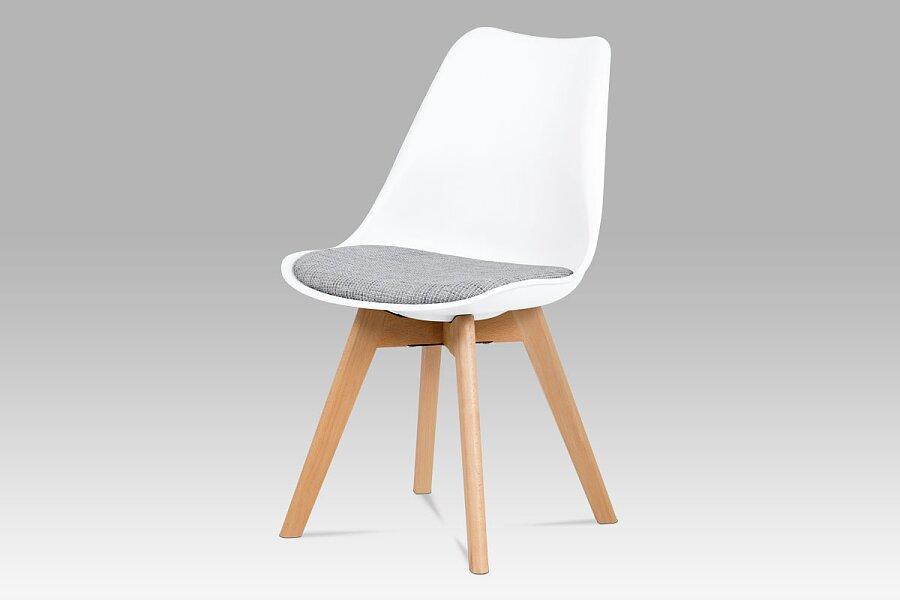 Jídelní židle, bílý plast, šedá tkanina, masiv natural