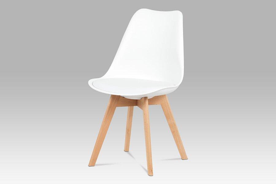 Jídelní židle, plast bílý / koženka bílá / masiv buk