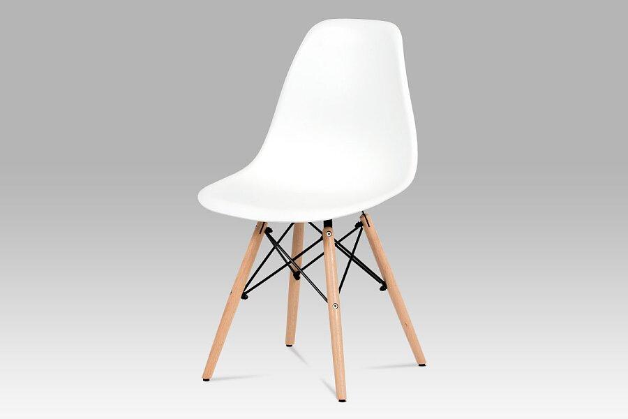Jídelní židle, plast bílý / masiv buk / kov černý
