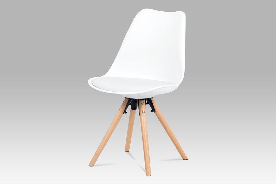 Jídelní židle, bílý plast+ekokůže, nohy masiv buk + rám černý kov