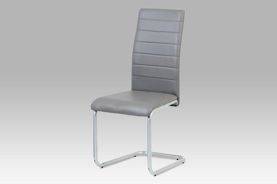 Jídelní židle, koženka šedá / šedý lak