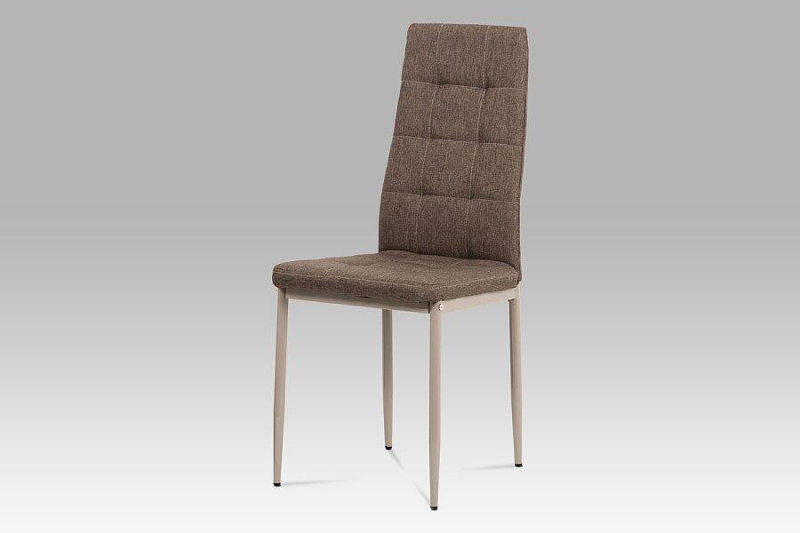 Jídelní židle, cappuccino látka, kov matný cappuccino