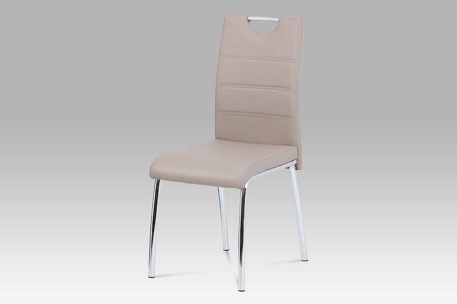 Jídelní židle, ekokůže lanýž / chrom