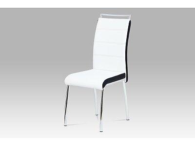 Jídelní židle - koženka bílá/černý bok, madlo, chrom