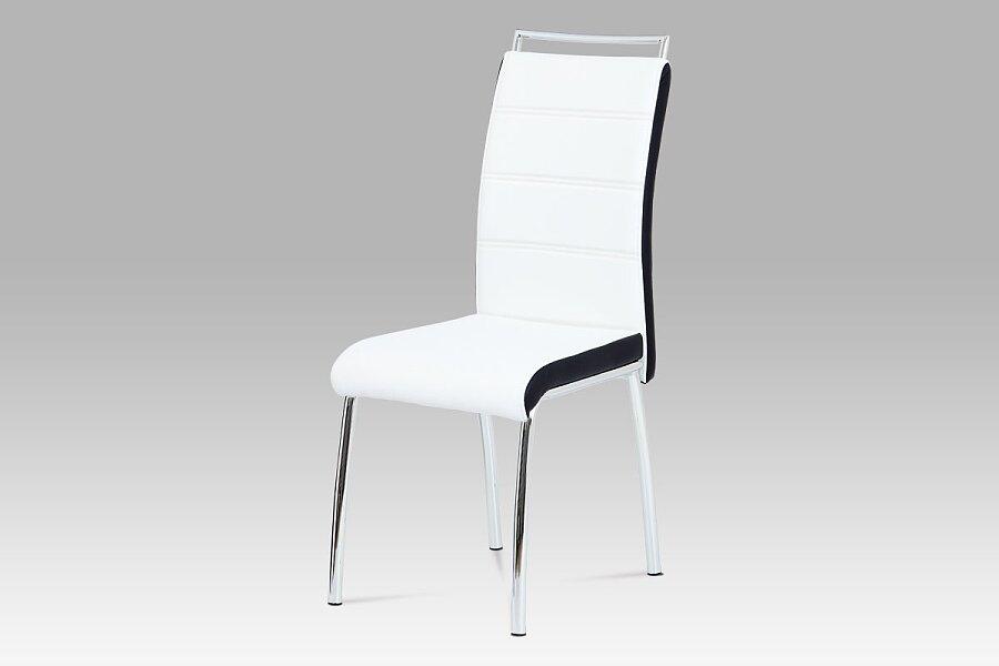 Jídelní židle, koženka bílá/černý bok, madlo, chrom