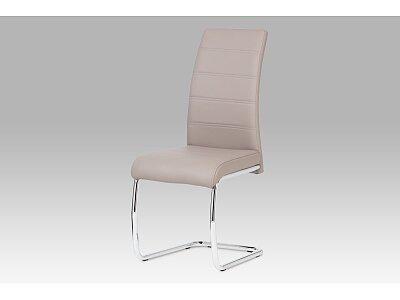 Jídelní židle - chrom / koženka lanýžová