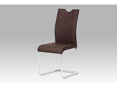 Jídelní židle chrom / hnědá látka + hnědá koženka
