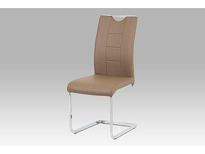 Jídelní židle - latte koženka / chrom
