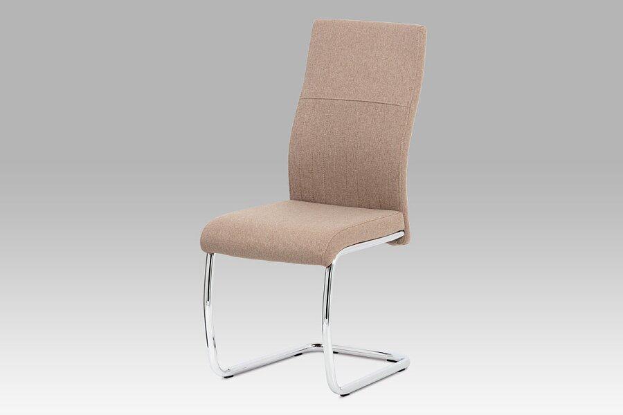 Jídelní židle, cappuccino látka, chrom