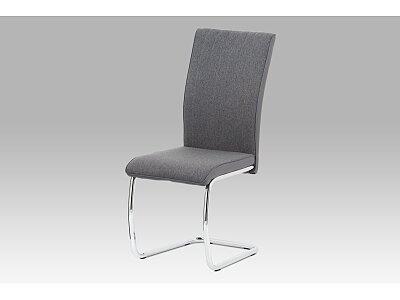 Jídelní židle - šedá látka-ekokůže, chrom