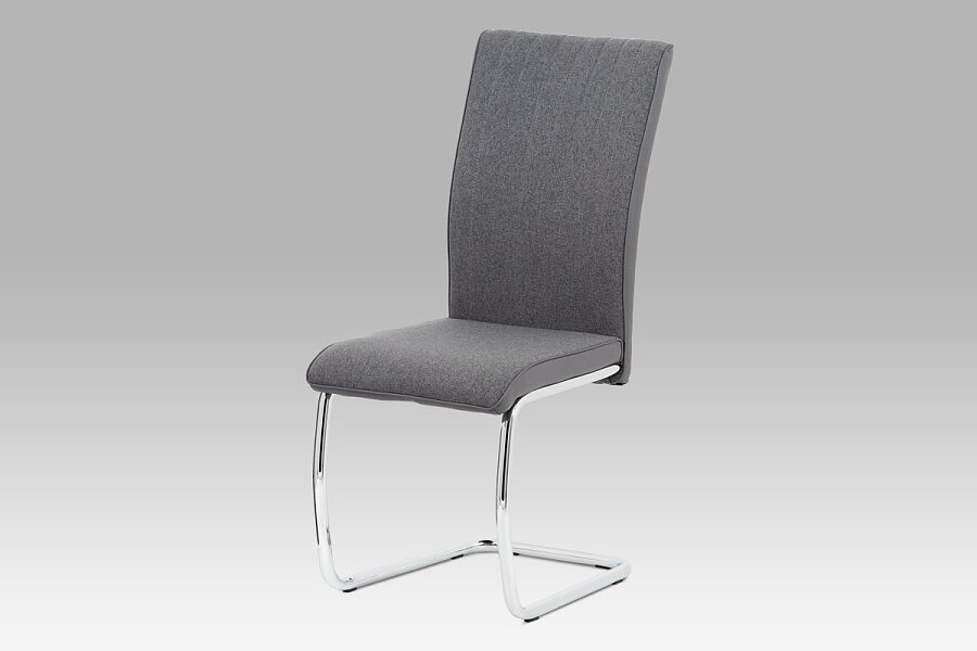 Jídelní židle, šedá látka-ekokůže, chrom