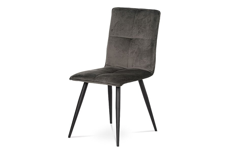 Jídelní židle, šedá látka samet, kov černá