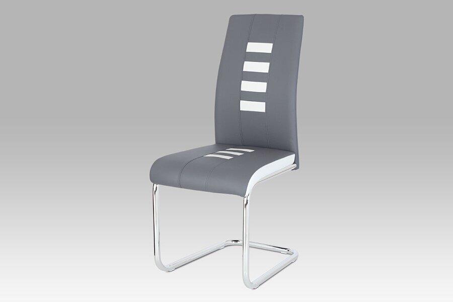 Jídelní židle ekokůže šedá / bílá, chrom