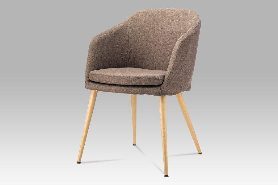 Jídelní židle, hnědá látka, kov buk