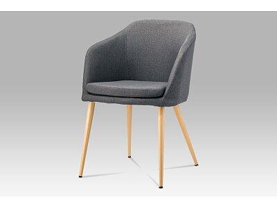 Jídelní židle - šedá látka, kov buk