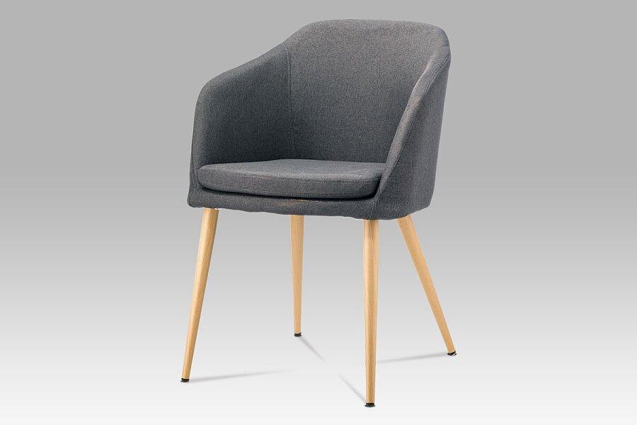 Jídelní židle, šedá látka, kov buk
