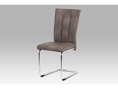 Jídelní židle - hnědá, chrom podnož