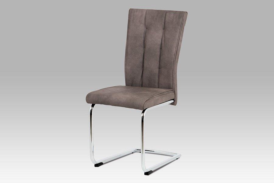 Jídelní židle, hnědá ekokůže v dekoru broušené kůže, chromovaná pohupová podnož