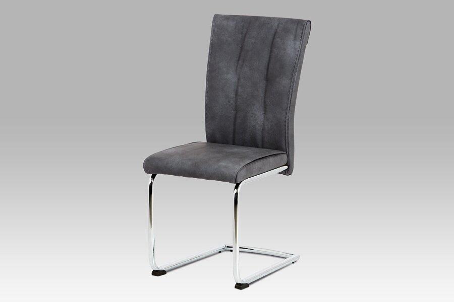 Jídelní židle, šedá vintage ekokůže MAYA, chromovaná pohupová podnož