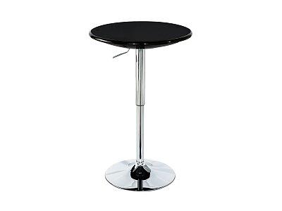 Barový stůl, černý plast, chromová výškově nastavitelná podnož