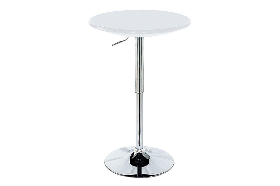 Barový stůl, bílý plast, chromová výškově nastavitelná podnož