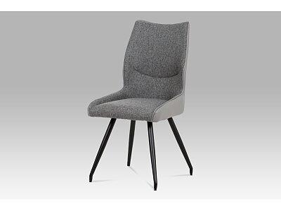 Jídelní židle - koženka šedá, látka černá, kov