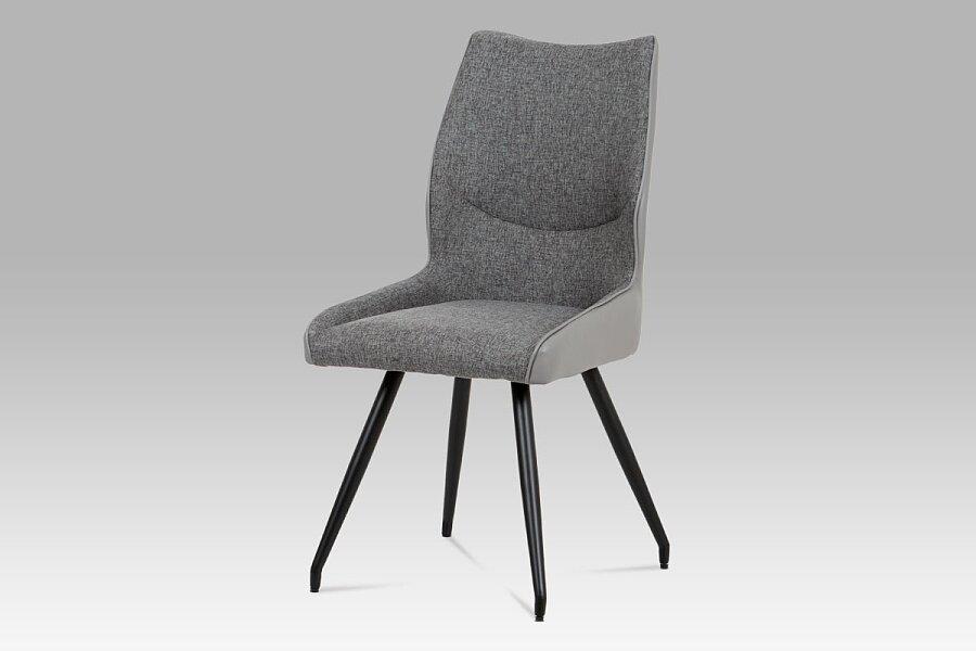 Jídelní židle koženka šedá + látka / černá kov