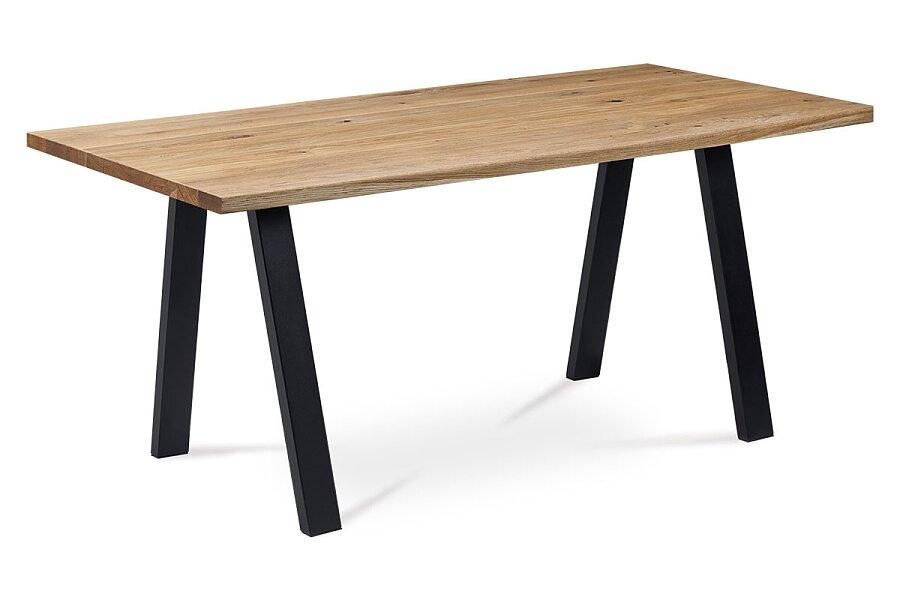 Jídelní stůl 160x90x75 cm, masiv dub, povrchová úprava olejem, kovová podnož, černý matný lak,
