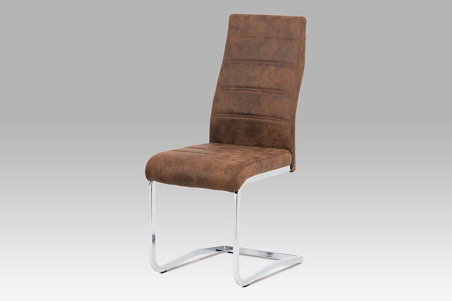 """Jídelní židle, látka """"COWBOY"""" hnědá, chrom"""